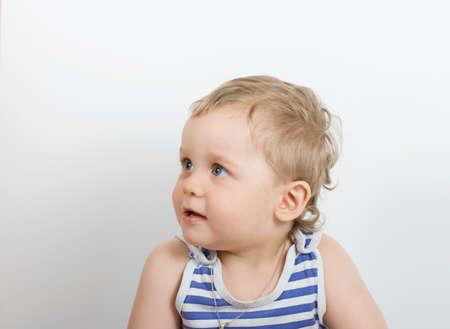 cute one year old boy studio portrait photo