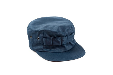 blue work cap isolated on a white photo