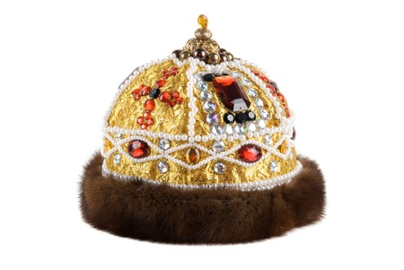 Regal kings fur crown isolated on a white background photo