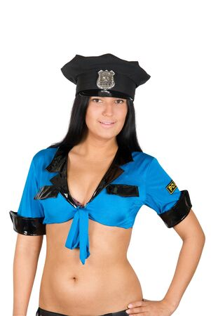 sexy policewoman isolated on a white Stock Photo - 8323167