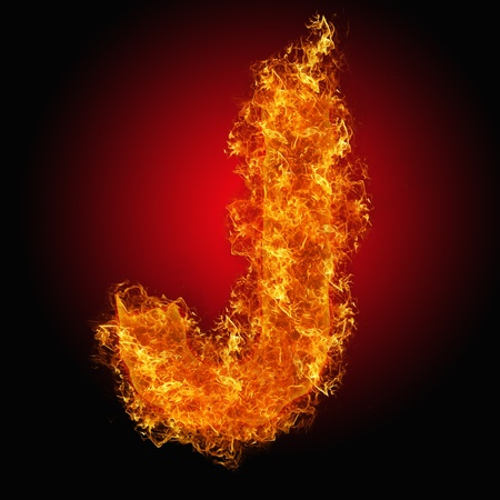 Fire letter J on a black background photo