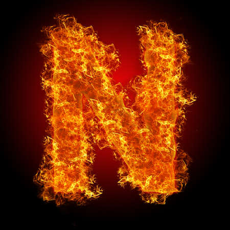 Fire letter N on a black background photo