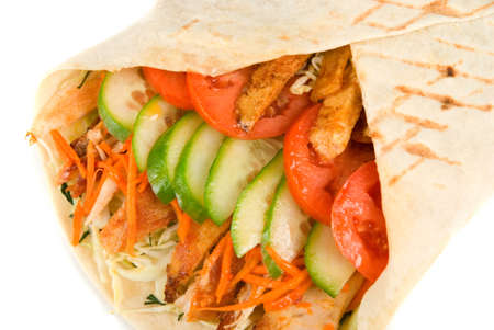 Doner kebab closeup on a white background. photo