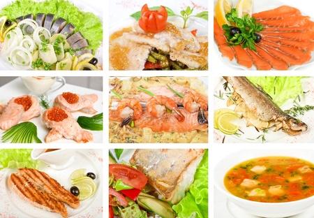 jorobado: Conjunto de plato de diferentes sabrosos pescados