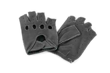 furskin: drivers male leather gloves isolated on a white Stock Photo