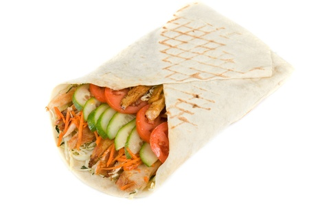 turkish kebab: Doner kebab closeup on a white background. Stock Photo