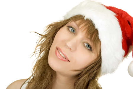 Happy pretty santa woman on firtree background Stock Photo - 8549044