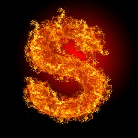 fire symbol: Fire letter S on a black background