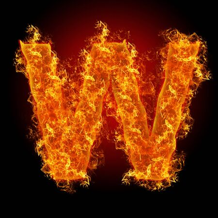 witchcraft: Fire letter W on a black background