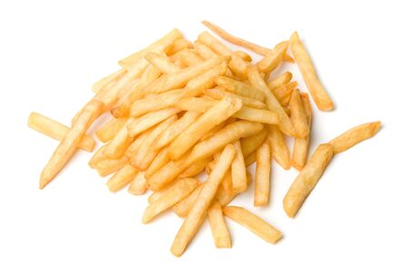 frites: French fried potatoes on a white background