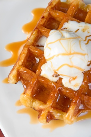 waffles: Tasty waffle and ice cream with cream