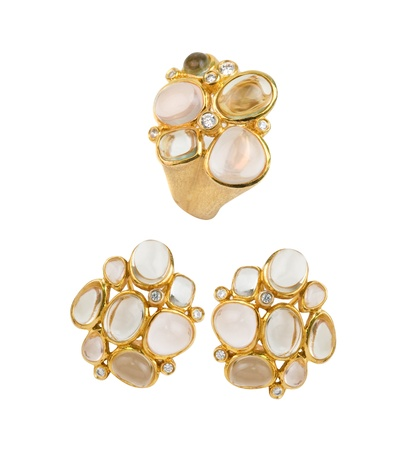 zircon: Gold ring and earring with pink and lilac quartz, green amethyst and zircon
