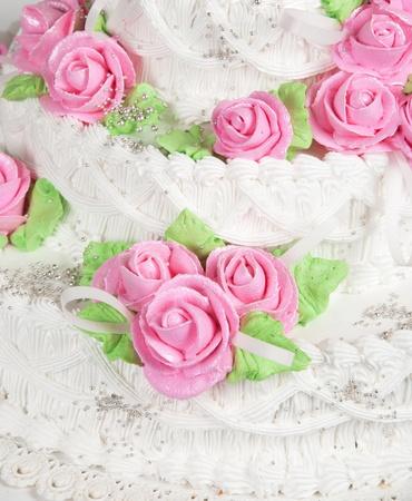 Closeup photo of the red wedding cake photo