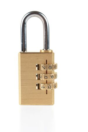 Close-up combination padlock isolated on white background photo