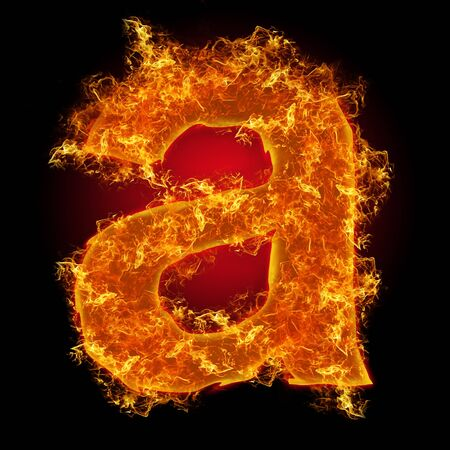 """Fire small letter """"a"""" on a black background"""