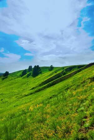 summer landscape of green valley and blue sky Stock Photo - 8714735