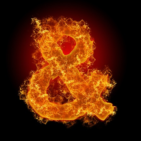 Fire sign AND on a black background photo