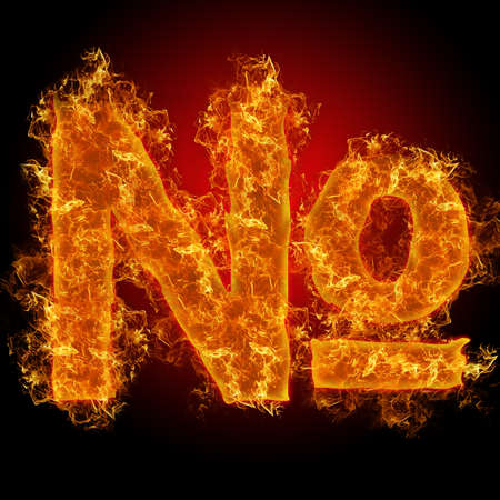 num: Fire sign number on a black background
