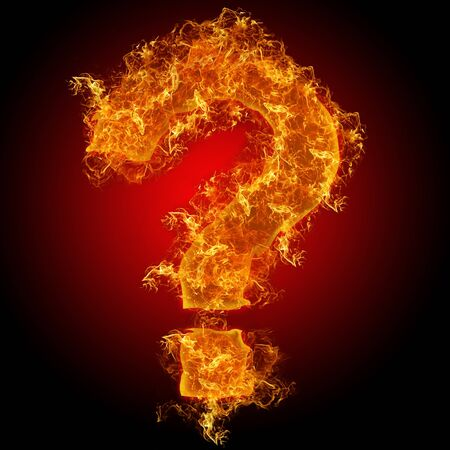 num: Fire sign query mark on a black background Stock Photo