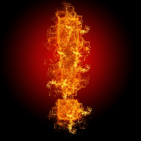 num: Fire sign exclamation mark on a black background