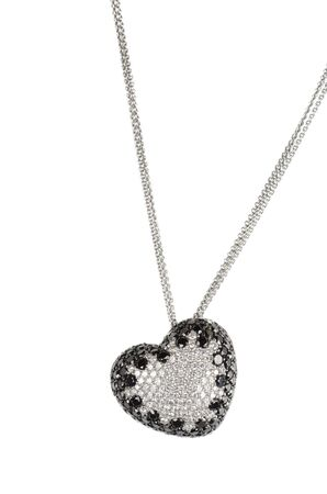 heart pendant of white gold and black and white diamond photo