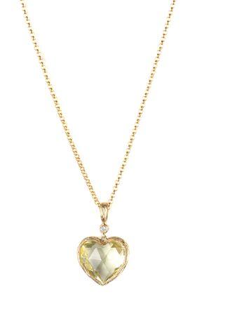 heart pendant of gold, diamond and lemon quartz photo