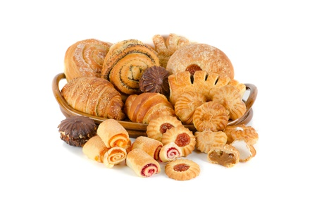 Bakery foodstuffs set on a white background Stock Photo - 8813753