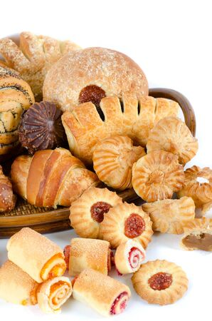 Bakery foodstuffs set on a white background Stock Photo - 8813815
