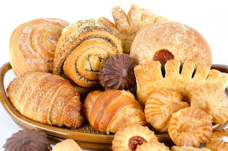 Bakery foodstuffs set on a white background Stock Photo - 8813850