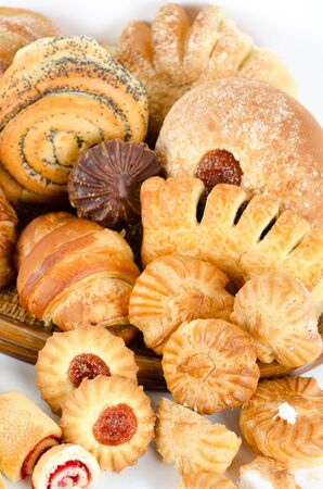 Bakery foodstuffs set on a white background Stock Photo - 8813883