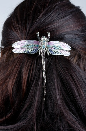 hairpin: Woman coiffure with dragonfly hairpin closeup