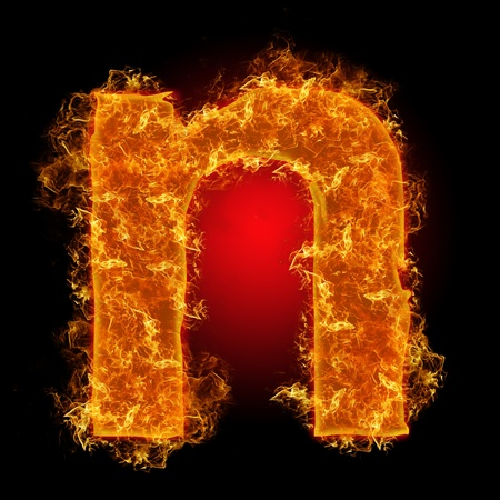 Fire small letter N on a black background photo