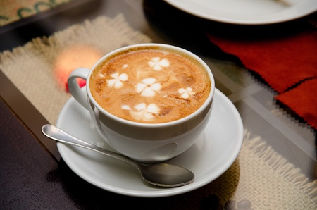 Cappuccino coffee at the table