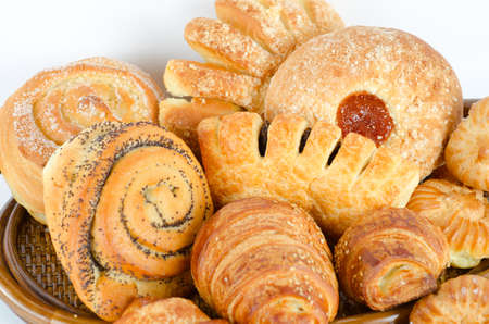 Bakery foodstuffs set on a white background Stock Photo - 9020484