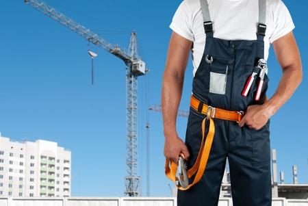 erector: erector closeup on building background Stock Photo