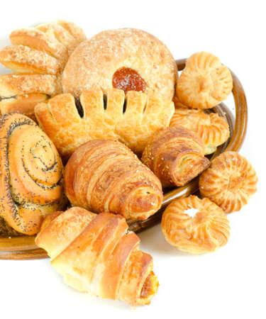 Bakery foodstuffs set on a white background Stock Photo - 9096285
