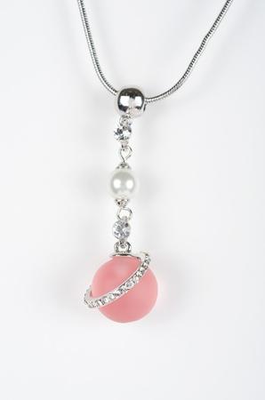 perle rose: Pendentif or blanc et Rose pearl