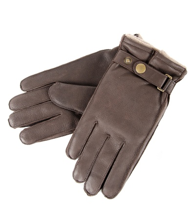 male leather gloves isolated on a white Stock Photo - 9096232