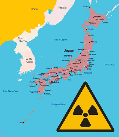 color map of Japan country with radiation sign Vector