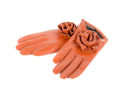 furskin: Red modern female leather rose gloves isolated on a white