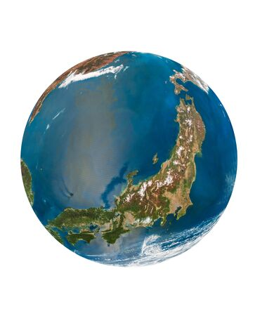 japan country at earth planet isolated on a white photo
