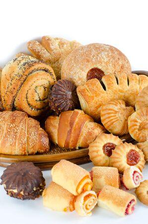Bakery foodstuffs set on a white background Stock Photo - 9095979