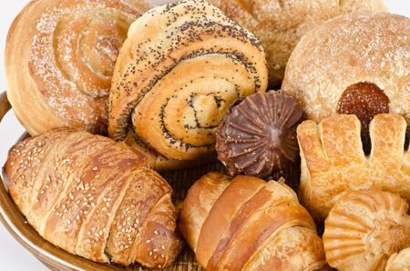 Bakery foodstuffs set on a white background Stock Photo - 9160348