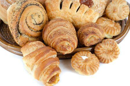 Bakery foodstuffs set on a white background Stock Photo - 9160404