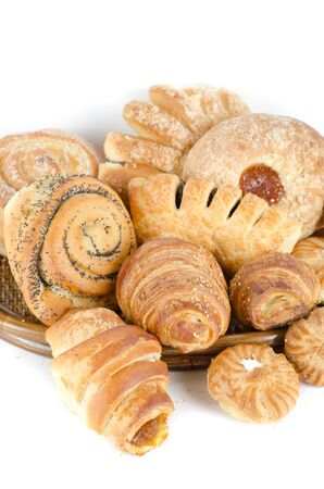 Bakery foodstuffs set on a white background Stock Photo - 9160417