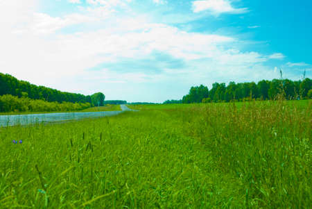 road,blue sky and green grass Stock Photo - 9160416