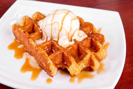 waffles: Waffle and ice cream