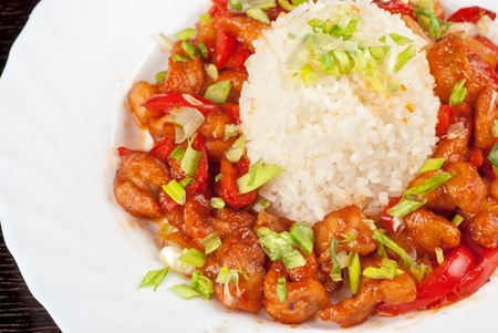 Pork meat and vegetables and pineapple with japanese rice Stock Photo - 9285685