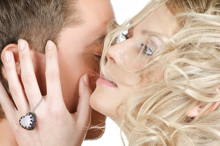 Beauty man and woman - lovers closeup portraits Stock Photo - 9329855