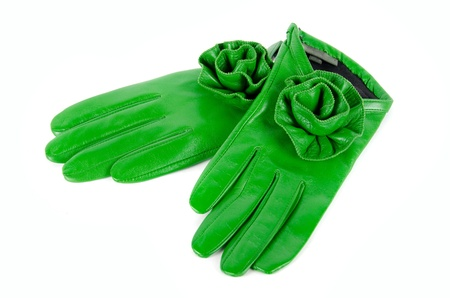 green modern female leather rose gloves isolated on a white Stock Photo